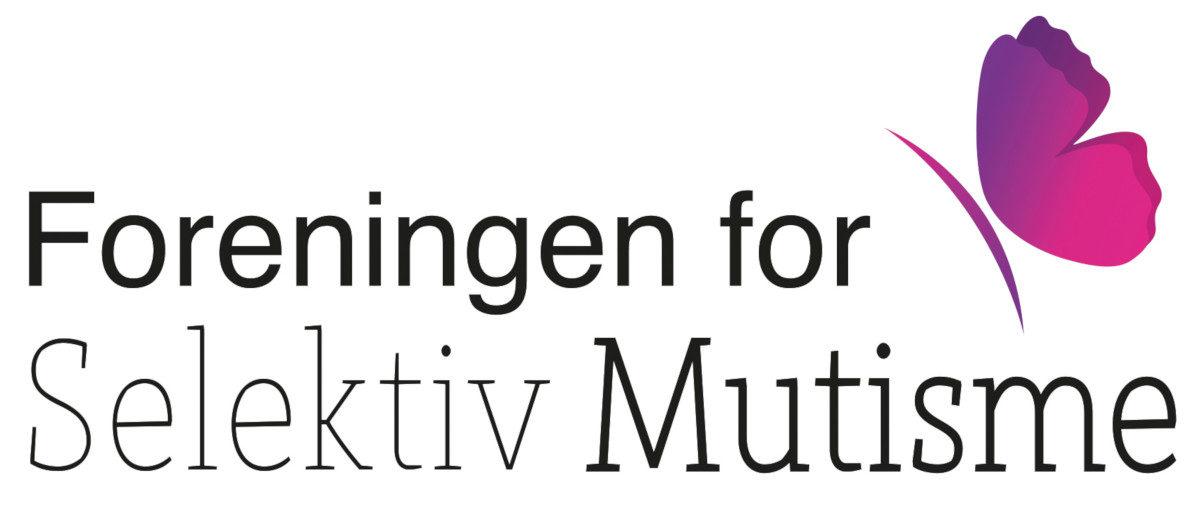 Logo av Foreningen for selektiv mutisme. Navnet og rosa sommerfugl.