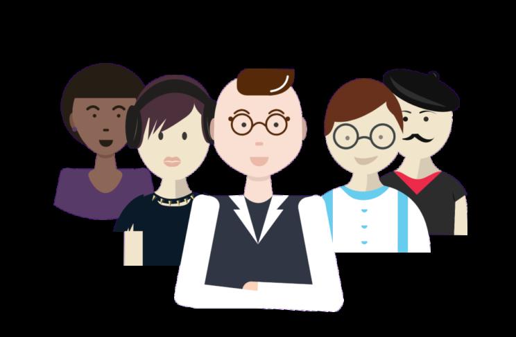 Illustrasjon av fem personer