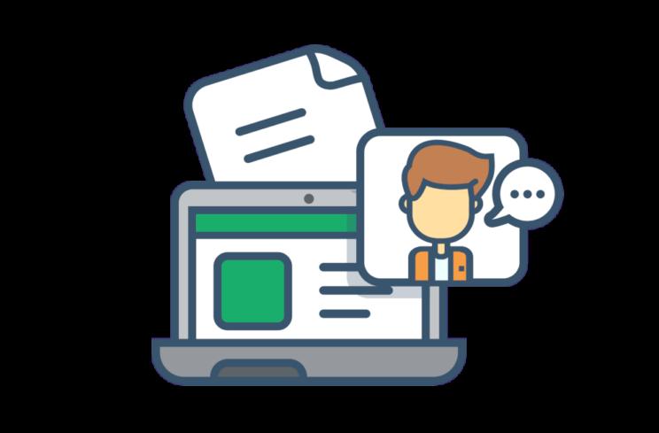 Illustrasjon av laptop med rapport